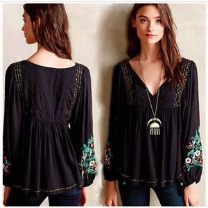 Floreat Black Austral Beaded Embroidered Blouse